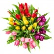 Bouquet of fresh multicolor tulips. top view — Stock Photo