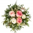 Bouquet of pink roses flowers with christmas baubles — Stock Photo