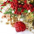 Decoration with red baubles, golden garlands, christmas tree — Stock Photo