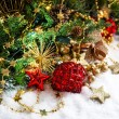 Christmas composition with red baubles and golden decoration — Stock Photo