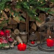 Christmas decoration with red burning candles — Stock Photo