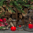 Christmas decoration with red burning candles — Lizenzfreies Foto