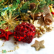 Christmas decoration with red baubles and stars — Stock Photo
