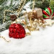 Stock Photo: Christmas composition with red balls und golden decoration