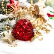 Christmas decoration with red baubles und stars on white — Stock Photo