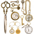 Golden vintage accessories. antique keys, clock, scissors, compa — Zdjęcie stockowe