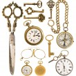 Golden vintage accessories. antique keys, clock, scissors, compa — Stok fotoğraf