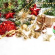 Festive christmas decorations in red, green, gold — Stock Photo