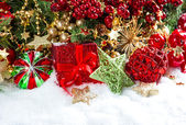 Decoration with baubles, golden garlands, christmas tree — Stock Photo