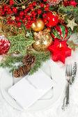 Festive christmas table setting decoration — Stock Photo