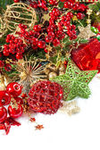 Christmas composition with baubles and golden decorations — Stock Photo