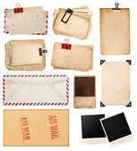 Vintage papers, postcards and photo frames isolated on white — Stock Photo