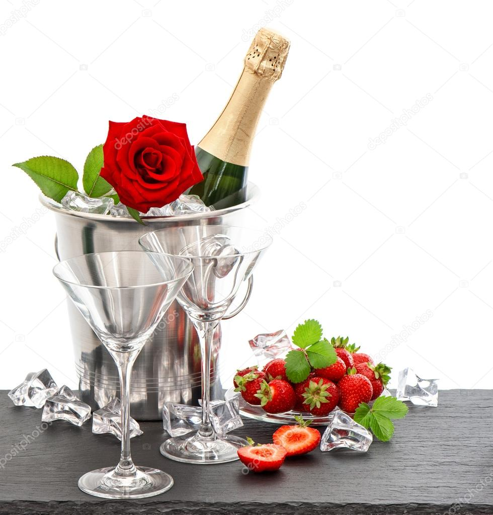 lovely babes are getting covered with roses and champagne  205284