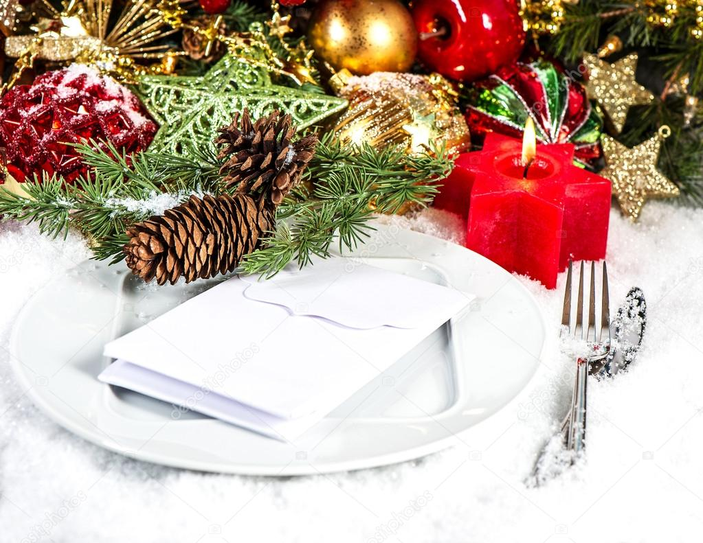 Festive Christmas Table Place Setting With Red And Gold