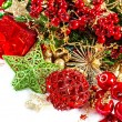 Christmas decoration with red baubles and golden garland — Stock Photo