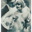 Antique wedding photo. portrait of just married couple — Stock Photo #35917957