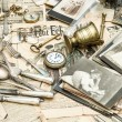 Antique goods prepared for sale on the flea market — Stock Photo