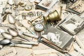 Antique goods prepared for sale on the flea market — Stock Photo