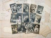 Archiwalne pocztówki świąteczne typowe na początku XX wieku — Zdjęcie stockowe