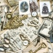 Antique french and german collectible goods — Stock Photo