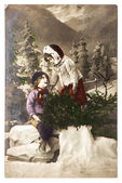Nostalgic christmas postcard. two kids with chtistmas tree — Stock Photo