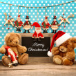 Vintage christmas decoration with antique toys — Stock Photo