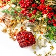 Brightly christmas decoration with red baubles, golden garlands — Stock Photo