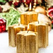 Stock Photo: Advent decoration with four burning candles and falling snow