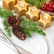 Christmas table place setting decoration in gold, red, green — Foto Stock #36318231
