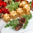 Stock Photo: Advent table place setting decoration in red, green, gold