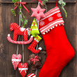 Stock Photo: Christmas decoration stocking and handmade toys