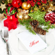 Candle light dinner. christmas table place setting — Stock Photo