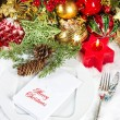 Stock Photo: Christmas table place setting. candle light dinner