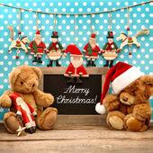 Decoración vintage navidad con juguetes antiguos — Foto de Stock