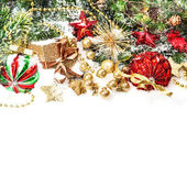 Festive christmas decorations in red, gold, green — Foto de Stock