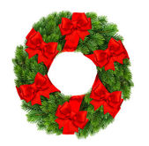 Christmas decoration wreath with red ribbon bow — ストック写真