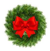 Navidad decoración guirnalda perenne ingenio cinta roja arco — Foto de Stock