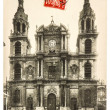 Vintage postcard with Cathedrale in Nancy — Stock Photo