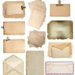 Set of various old paper sheets, cards, envelopes — Stock Photo #36324105