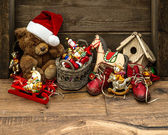 Retro style christmas decoration with antique toys — Foto de Stock