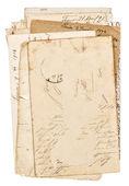 Vecchi fogli di carta sgangherata isolati su bianco — Foto Stock