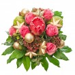 Fresh pink roses with golden christmas decoration — Stock Photo