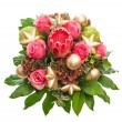 Fresh pink roses with golden christmas decoration — Stock Photo #36995059