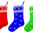 Christmas socks with white snowflakes for Santa gifts — Stock Photo