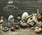 Nostalgic still life easter home interior — Stock Photo