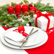 Christmas table place setting decoration in red — Stock Photo #37003261