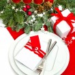 Christmas table place setting decoration in red and white — Stock Photo #37003359