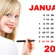 Calendar for January 2013 with portrait of young woman — Stock Photo #37003369