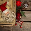 Vintage christmas decoration with antique baubles and toys — Stock Photo #37004359