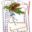 Vintage air mail envelopes with winter bird decoration — Stock Photo